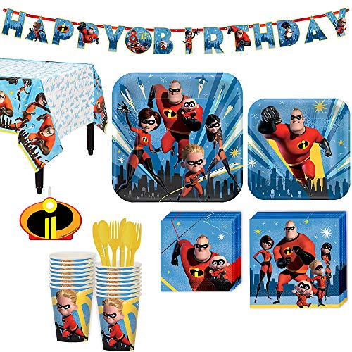 The Incredibles 2 Birthday Party Kit, Includes Happy Birthday Banner and Birthday Candles, Serves 16, by Party City -