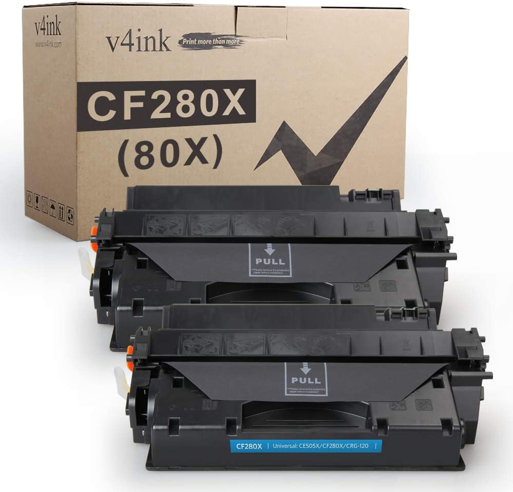 V4INK 2PK Compatible Toner Cartridge Replacement for HP 80X CF280X CF280A Toner Ink High Yield for HP Laserjet Pro 400 M401 M401a M401d M401dn M401dne M401dw M401n MFP M425dn M425dw Printer