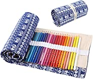 Drasawee Cute Roll Up Pencil Bag Dot Cotton Stationery Bag for Student