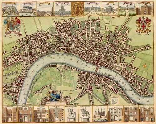 Reproduction Antique Map of City of London 1680s 17th Century, At the time of William & Mary Stuart, by John Overton