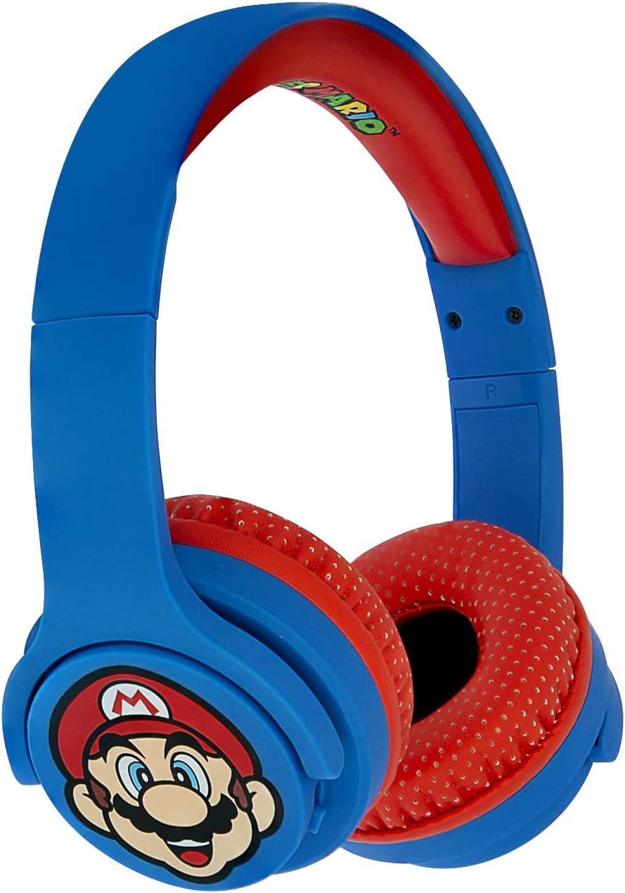 OTL Technologies JUNIOR Bluetooth Kinder Kopfhörer Super Mario (gepolsterte Bügel, Lautstärke Begrenzung auf 85 dB, buntes Comic Design, für Jungen