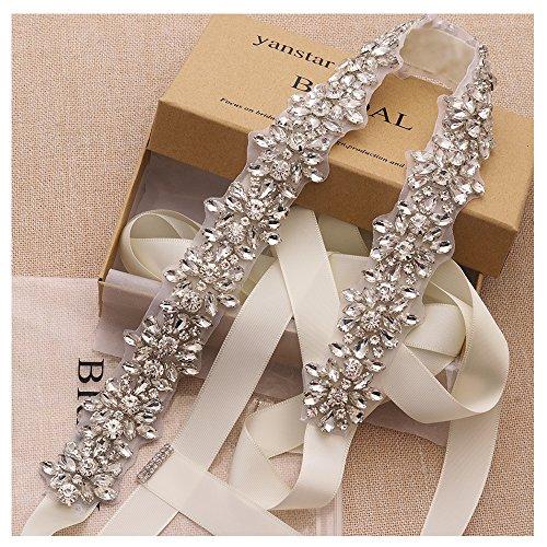 Yanstar Handmade Crystal Beads Wedding Belts Cream Bridal Belt Sashes For Bridal Gowns …