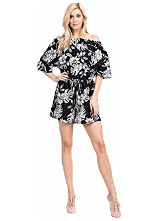 1424a0eadf29 Jersey Glam Black Floral Printed Off Shoulder Romper Tropical Casual Ruffle  (Small)