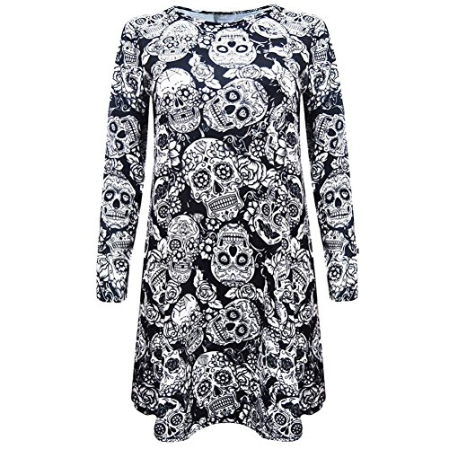 Han Shi Skull Dresses, Halloween O Neck Above Knee Long Sleeve Party Mini Tunic Skirt (M=(US S), Black)