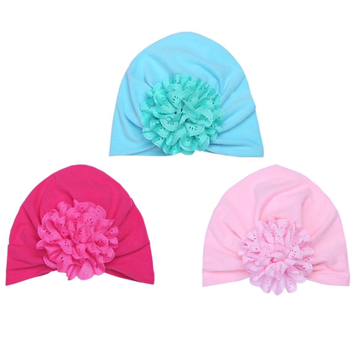 YiZYiF Lot de 3 Bébé Bonnets Nouveau né Coton Crochet Papillons Chapeau Unisexe Bébé Garçon Fille Naissance Tricot Hat Cap Noël Cosplay 0-6 Mois
