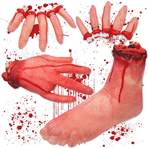 Pawliss Halloween Scary Decorations Fake Bloody Body Parts Props, Severed Foot Hand & Fingers