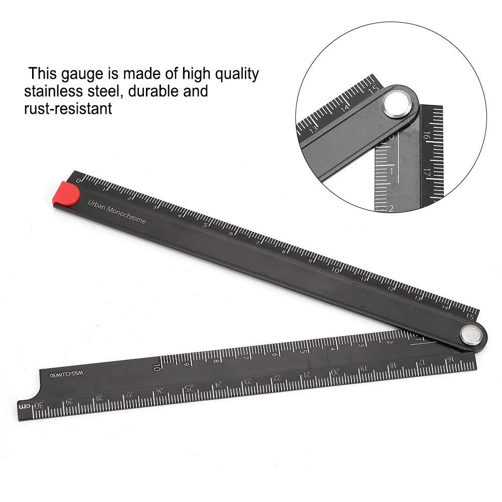 /ángulo recto de 90 /° medici/ón de regla tipo L Buscador de /ángulos de transportador digital Regla de acero inoxidable regla de papeler/ía de metal plegable