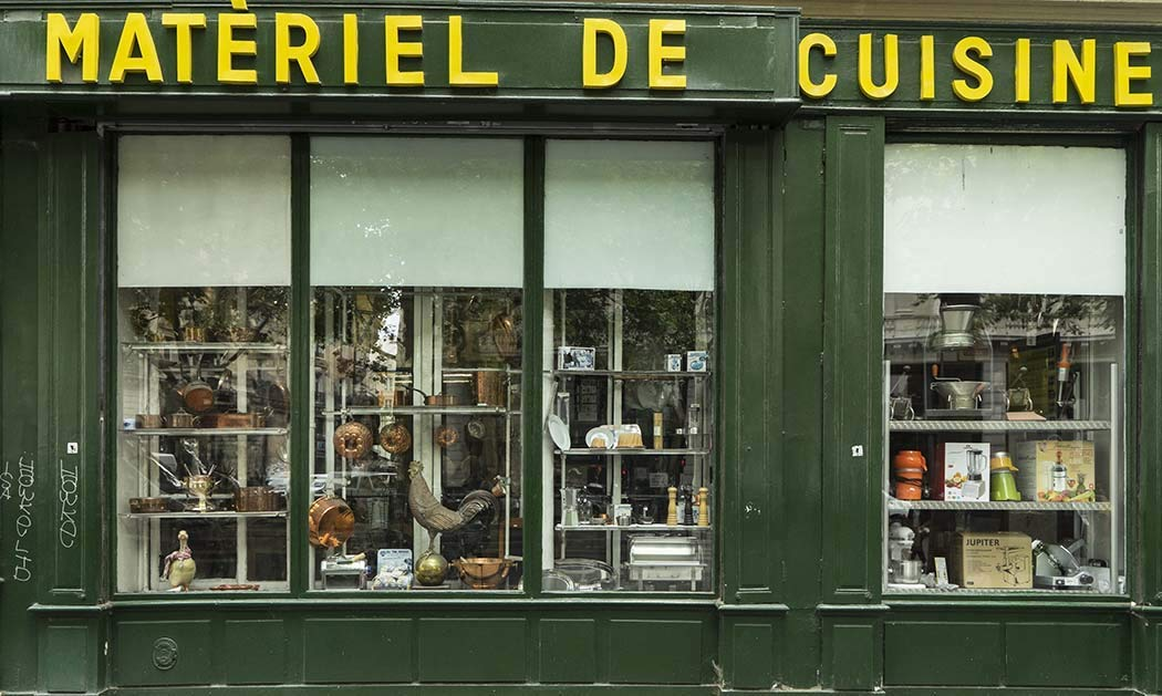 Paris, Photography, Kitchen Utensils, store, shop, display window, facade, cooking, France, Europe, Art Print, Wall Art, Gift, Decor, Photo
