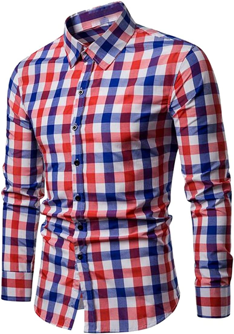 XiaoTianXinMen XTX Mens Casual Long Sleeve Button Up Business Plaid Print Dress Shirts
