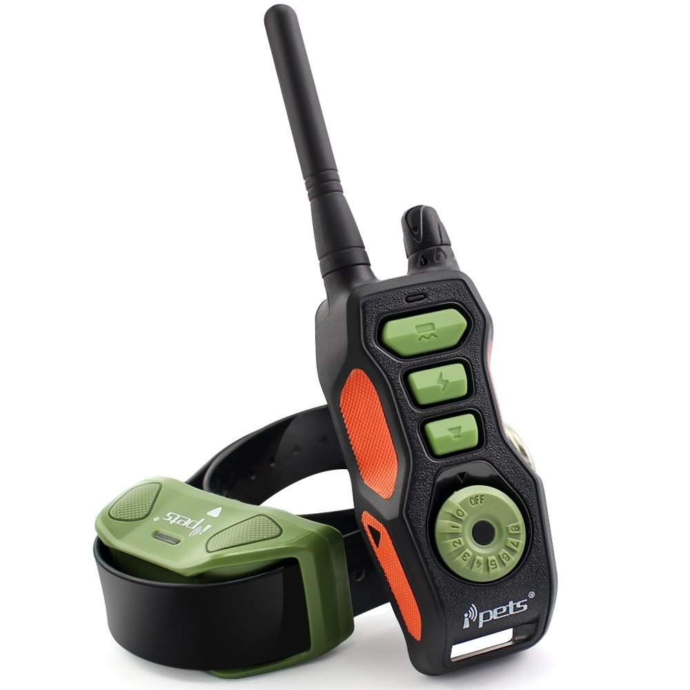 Ipets PET618 Dog Shock Collar with 2700ft Remote Training Collar for Medium Large Dogs 100% Waterproof & Rechargeable Electronic Collar with Beep Vibrating Electric Collar, for 1 Dog, Black&Green