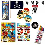 6 PACK PIRATE PARTY GIFT SWORD/EYEPATCH/BAG/BALL/STICKERS/CRAYONS+ 2 FLAG+BUNTING
