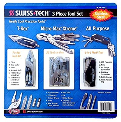 Swiss Tech 3 Piece Tool Set All Purpose, T-rex & Micro Max by Swiss+Tech