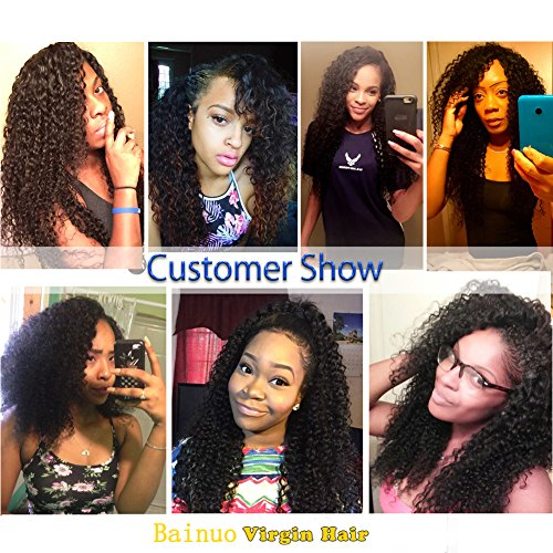 Shireen 10A Brazilian Curly Hair Weave 3 Bundles (20 22 24,300g) Virgin Kinky Curly Human Hair Weave 100% Unprocessed Hair Weft Extensions Natural Black Color by Shireen Hair (Image #7)
