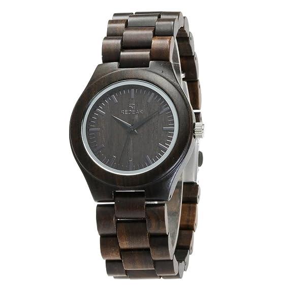 Qiaoqi Natural hecho a mano de madera de sándalo negro reloj de madera Vintage Mujer Relojes