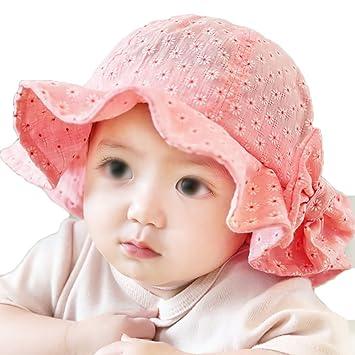 comment commander grosses soldes prix le moins cher Chapeau Bebe Fille Ete Anti UV Coton Chapeau de Soleil ...