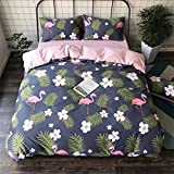 cute 4-piece cotton bedding set includes a duvet cover, a sheet and 2 pillowcases, in different sizes, patterns of flowers, birds and leaves. , 220*240cm