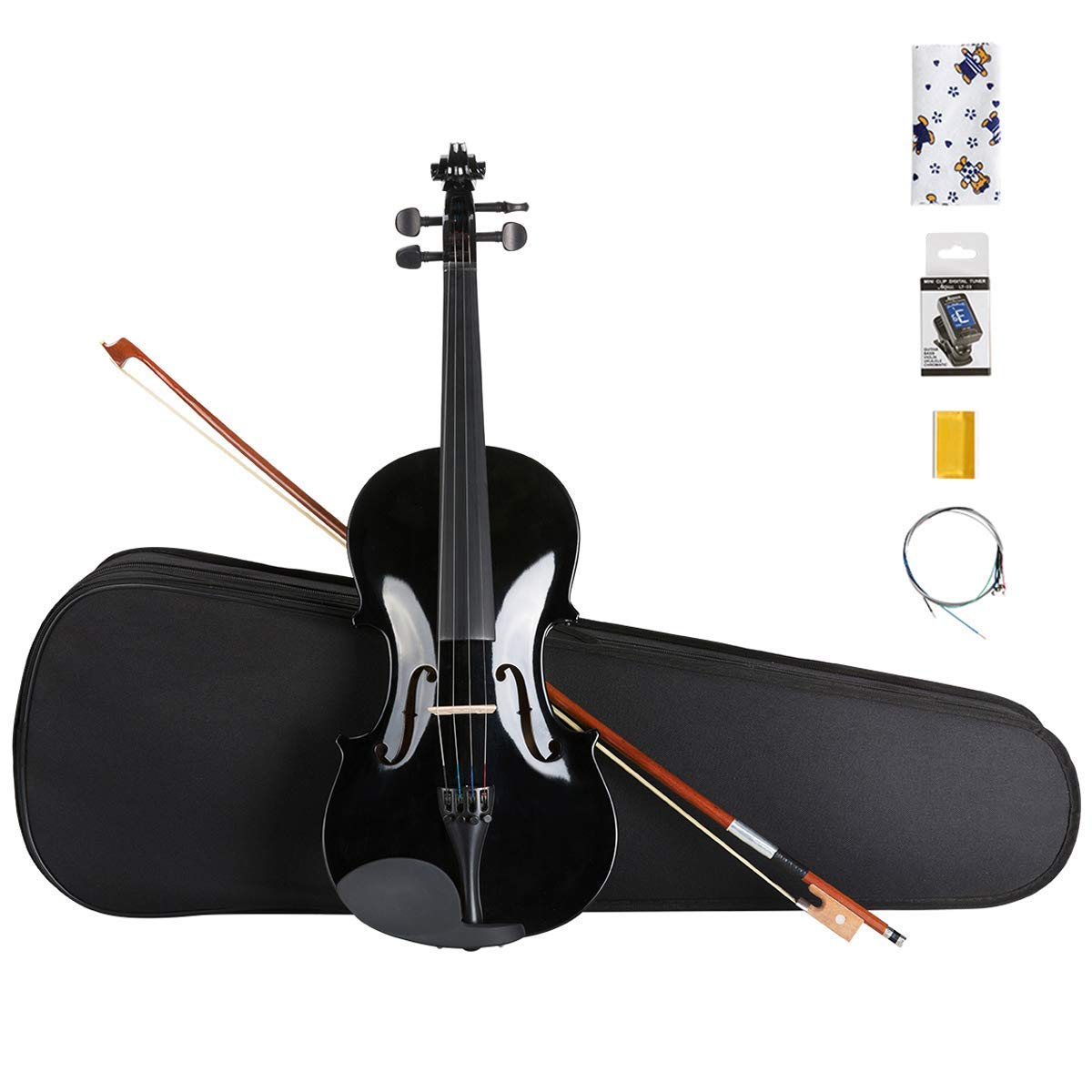 ARTALL 4/4 Handmade Student Acoustic Violin Beginner Pack with Bow, Hard Case, Chin Rest, Tuner, Spare Strings, Rosin and Bridge, Glossy Black by ARTALL