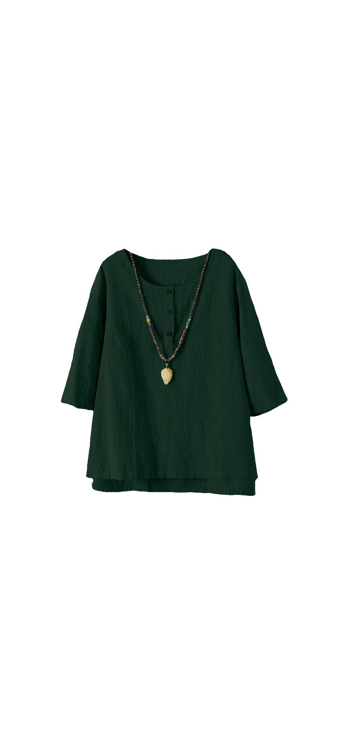 Women's / Sleeve Cotton Linen Jacquard Blouses Top