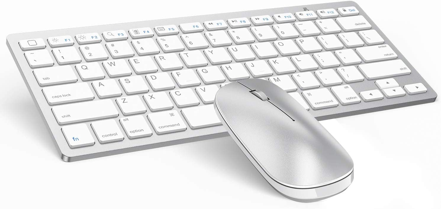 OMOTON Bluetooth Keyboard and Mouse for iPad and iPhone (iPadOS 13 / iOS 13 and Above), Compatible with New iPad 10.2, iPad Pro 12.9/11.0, and Other Bluetooth Enabled Devices, Silver White