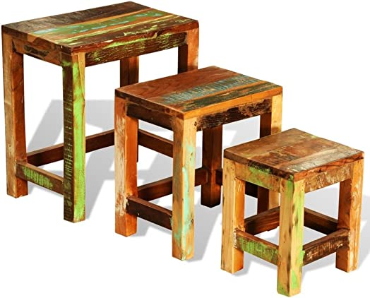 vidaXL Antique Nesting End Tables 3pcs Set Side Table Stand Stool Reclaimed Wood Finish