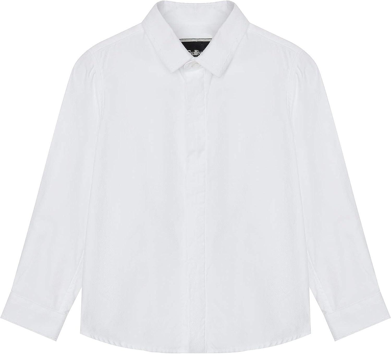 GULLIVER Camisa de Fiesta Manga Larga para Niño Color Blanco con Cuello, Algodón, Party Shirt para 9 Meses - 8 Años
