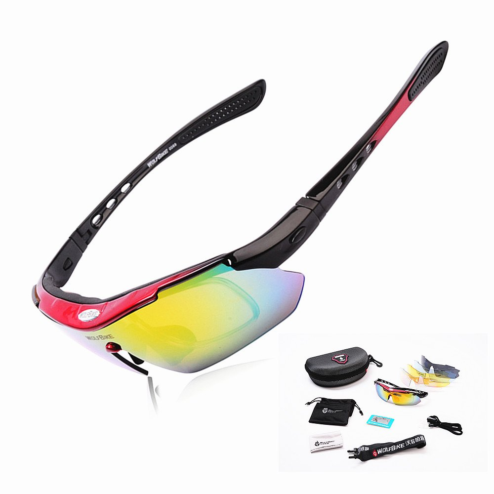 bbd7890d6e WOLFBIKE POLARIZE Sports Cycling Sunglasses with 5 Set Interchangeable  Lenses Red Frame  Amazon.ca  Sports   Outdoors