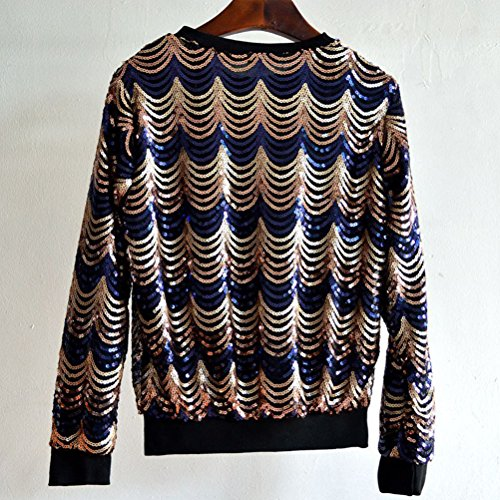 Zhhlaixing Costumi in Sequined Moda Fashion Personality Sequin Wave Pattern Sweater Round Neck Pullover Blouse Shirts for Women