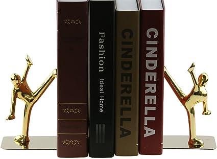 Acier Inoxydable Kung Fu Man Serre Livres Heavy Duty Serre Livre Brillant Serre Livres Pour Bureau Ecole Bibliotheque A La Maison Dore Amazon Fr Fournitures De Bureau