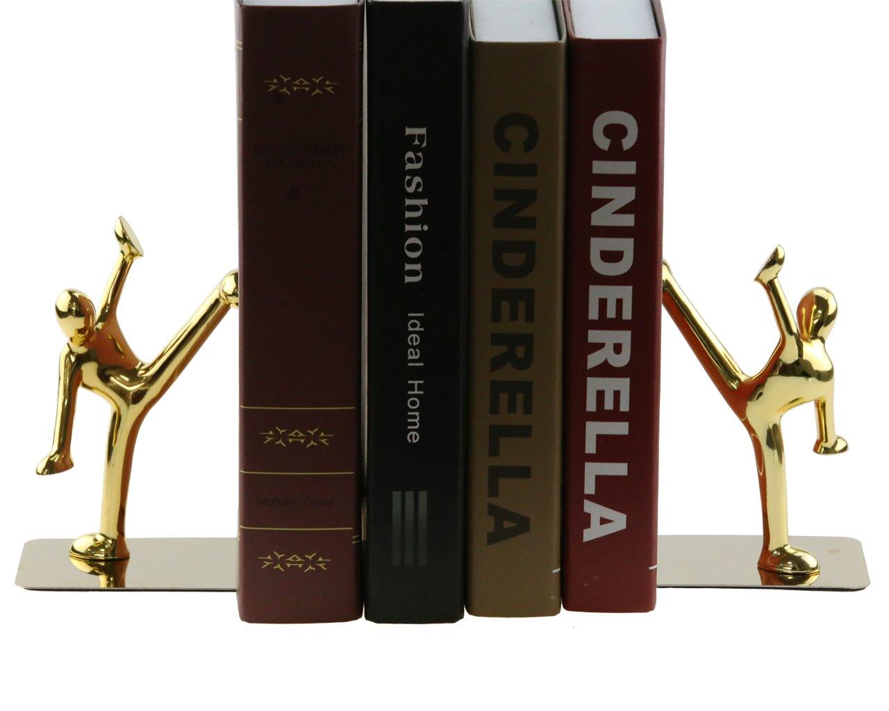 Acier inoxydable Kung Fu Man Serre-livres Heavy Duty serre-livre brillant Serre-livres pour bureau /école Biblioth/èque /à la maison Dor/é