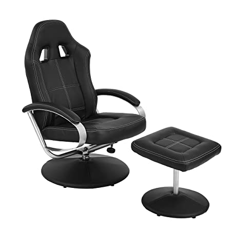 HOMY CASA Recliner Chair with Ottoman PU Leather Racing Car Style Leisure Chair with Footrest Set, Ergonomic High Back Armrest Support, Black