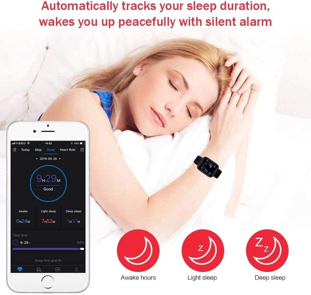 Smart Watch, Fitness Watch, Waterproof Sports Bracelet, Multi-Function Heart Rate Touch Screen with Sleep Tracking Calorie Counter, Pedometer Watch, Suitable for Android/iOS (Black) 61m7 2BNjTzOL