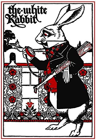 Amazon Com The White Rabbit Alice In Wonderland Print Art Red And White And Black Wall Decor Lewis Carroll Everything Else