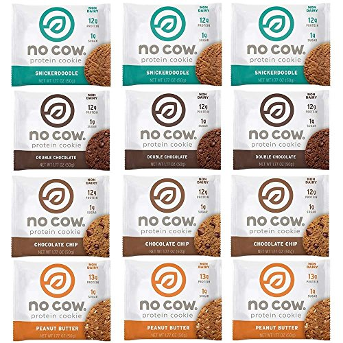 No Cow Protein Cookie, Variety Pack, 12g Plant Based Protein, Low Sugar, Dairy Free, Gluten Free, Vegan, 12 Count