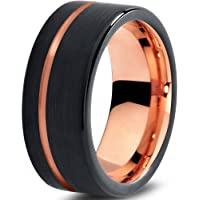 Tungsten Wedding Band Ring 9mm for Men Women Black Rose Yellow Gold Plated Flat Cut Offset Line Brushed Polished