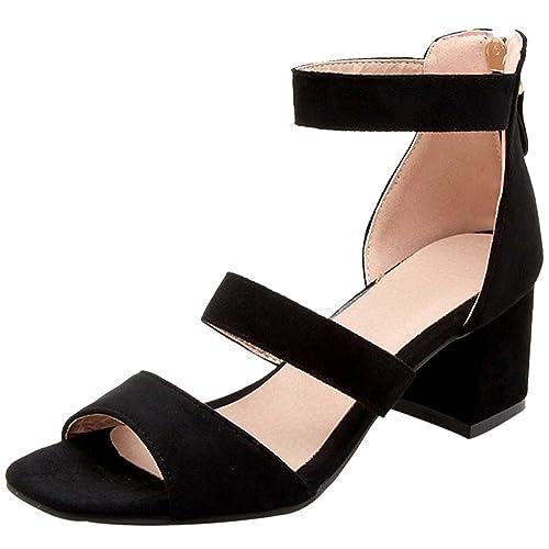 4ab2997e6 RizaBina Women Stylish Block Heel Zipper Sandals Ankle Strap Black Size 32  Asian