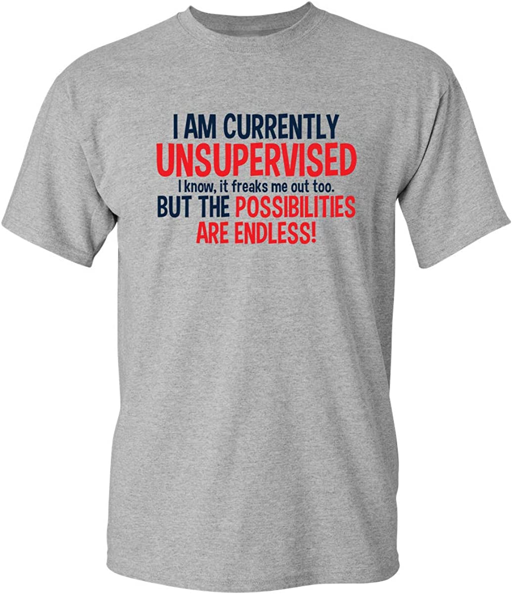 Currently Unsupervised Novelty Graphic Sarcastic Mens Very Funny T Shirt