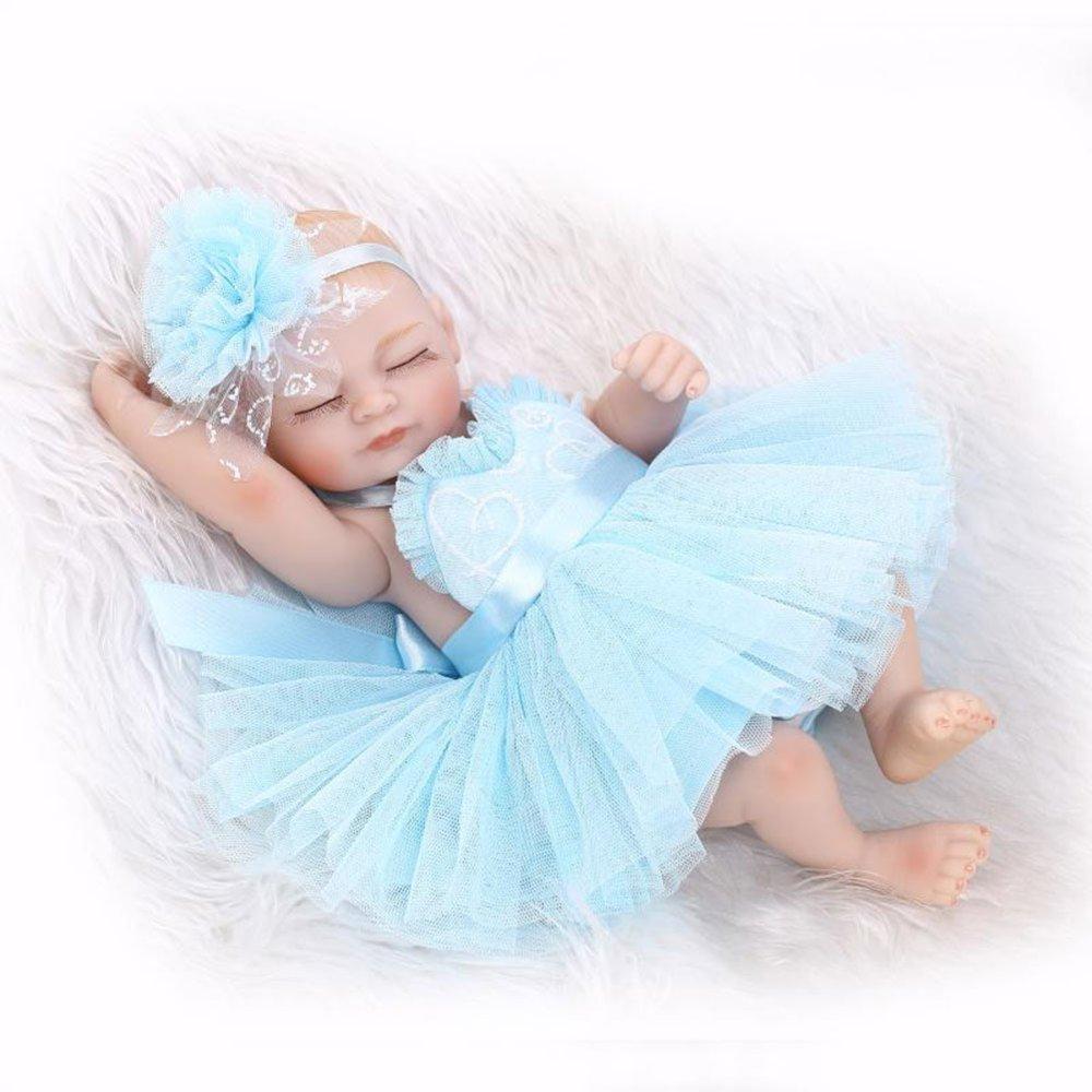 ADZPAB Muñeca de simulación de Vinilo de Silicona de 10 Pulgadas 26 cm Realista niño niña (Color : Azul)