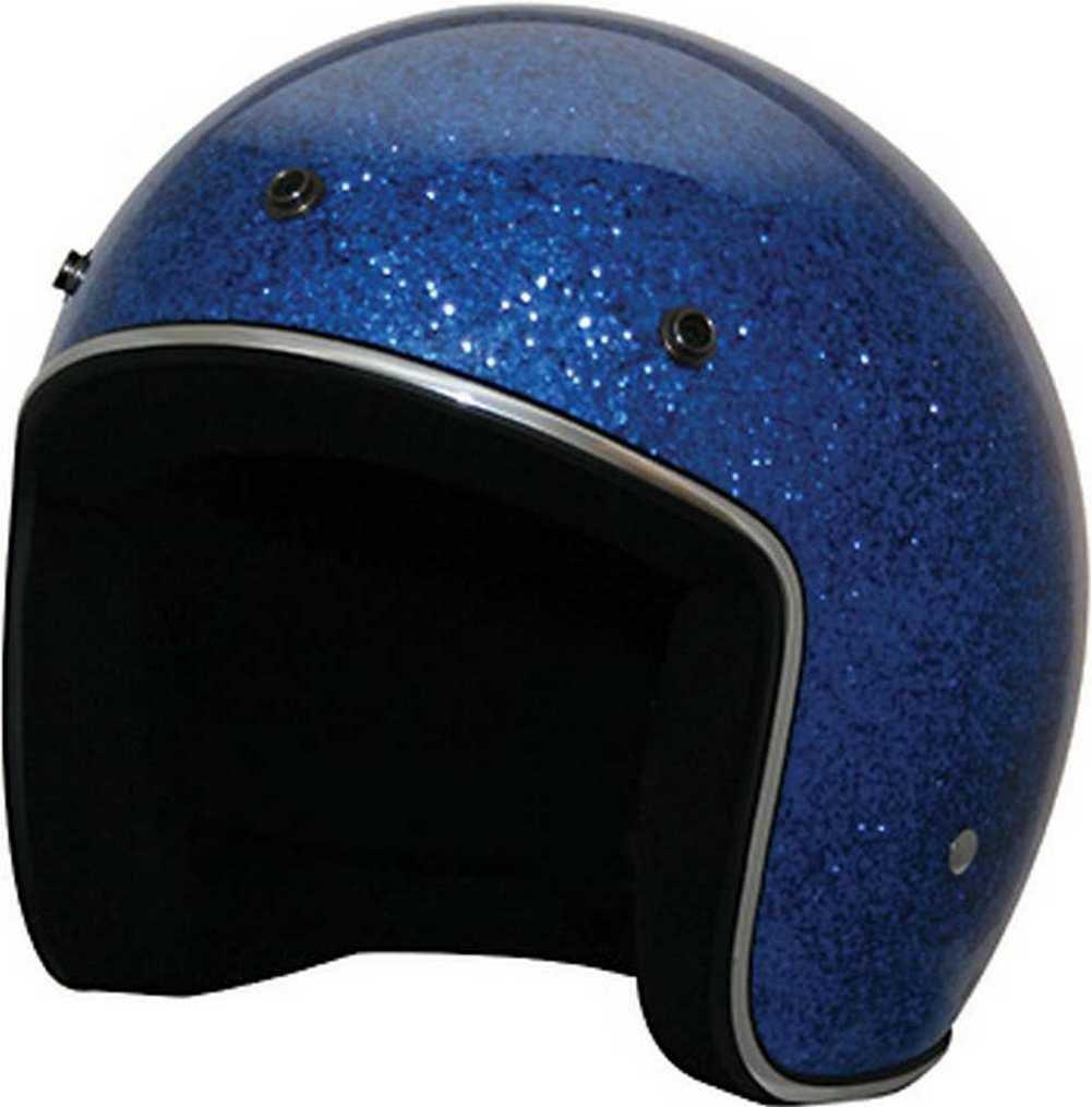 HCI Retro Blue Glitter Open Face Helmet w/Visor ABS painted Shell 10-033 (Lg) by HCI