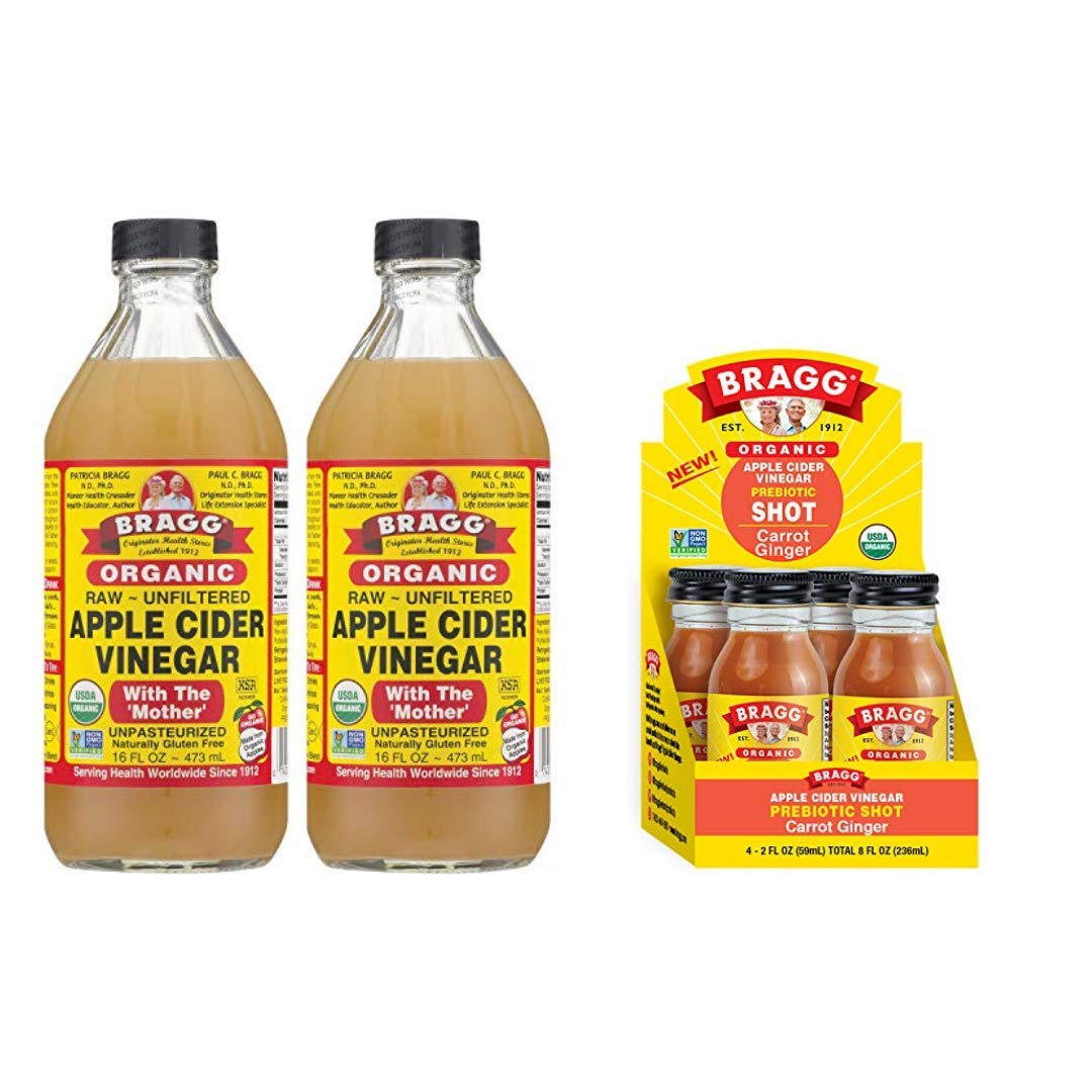 Bragg Organic Apple Cider Vinegar With the Mother 16 Ounce 2 Pack and Bragg Organic Apple Cider Vinegar Shot with Carrot Ginger 2 Ounce ACV Shot 4 Pack Bundle