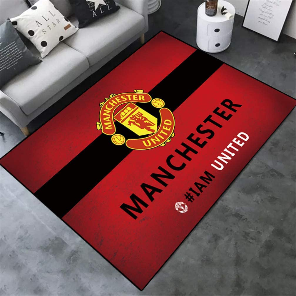 ACJIA Manchester United Pattern Area Rug for Fans Soft Sport Carpet for Living Room Bedroom Children Play Dormitory,A,80/×120cm