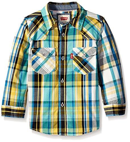 Levi's Big Boys' Levis Barstow Western Plaid Shirt, Super Lemon, 3T ()