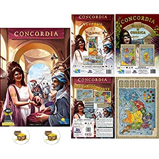Concordia Board Game Bundle of Base Game and The Expansions Aegyptus / Creta, Balearica / Cyprus, Britania / Germania, Gallia/Corsica Plus Two Treasure Chest Buttons