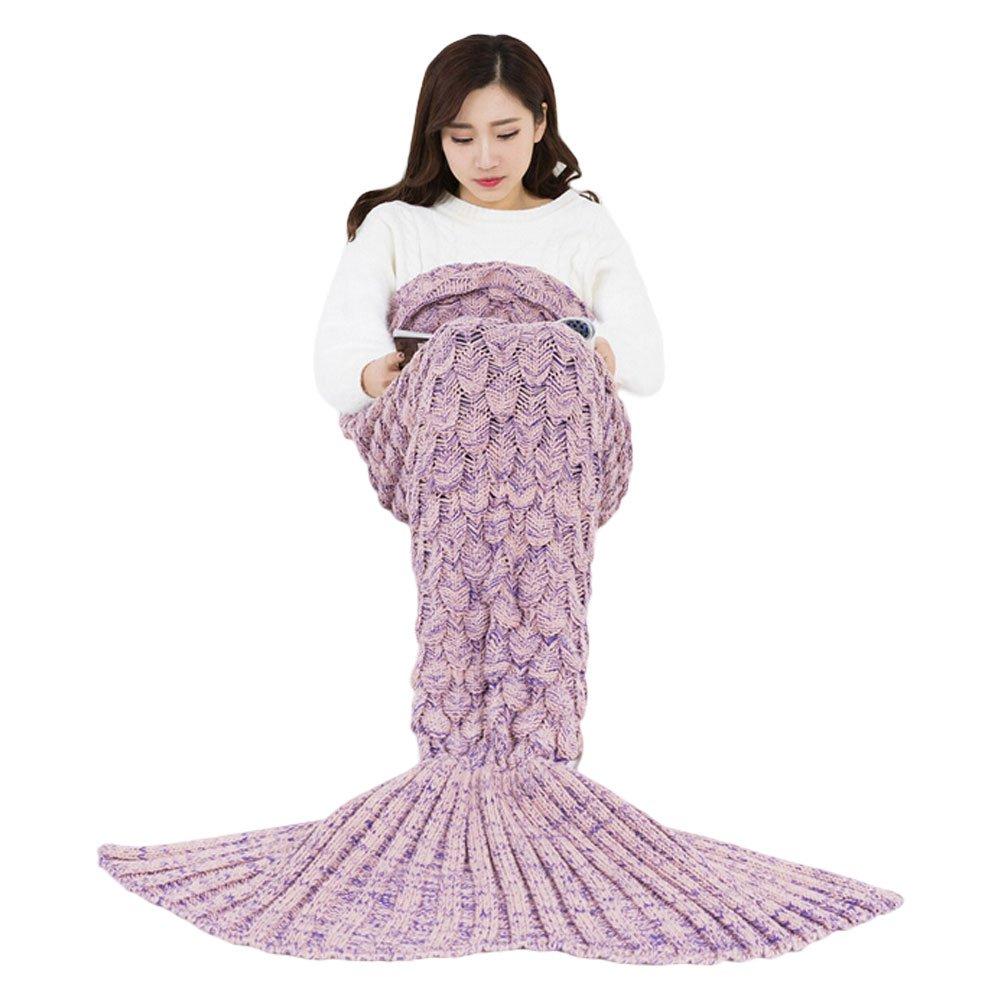 ニットマーメイドテールBlanket魚スケールパターンソフトSleeping Bag for Girls大人Kids All Season M ピンク B072HH4NDN Medium|ライトピンク ライトピンク Medium
