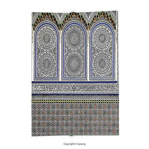 Custom printed Throw Blanket with Boho Arabian Decor Nostalgic Moroccan Architecture with Stone Carving and Motifs Majestic Oriental Ottoman Artes Multi Super soft and Cozy Fleece Blanket by vipsung