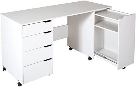 South Shore Crea Sewing Craft Table On Wheels Pure White Amazon Ca Home Kitchen
