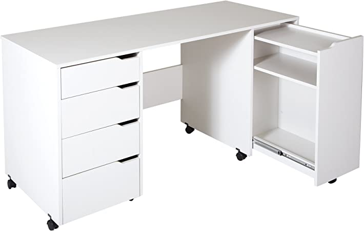 South Shore Crea Craft Table On Wheels With Sliding Shelf Storage Drawers And Scratchproof Surface Pure White Arts Crafts Sewing