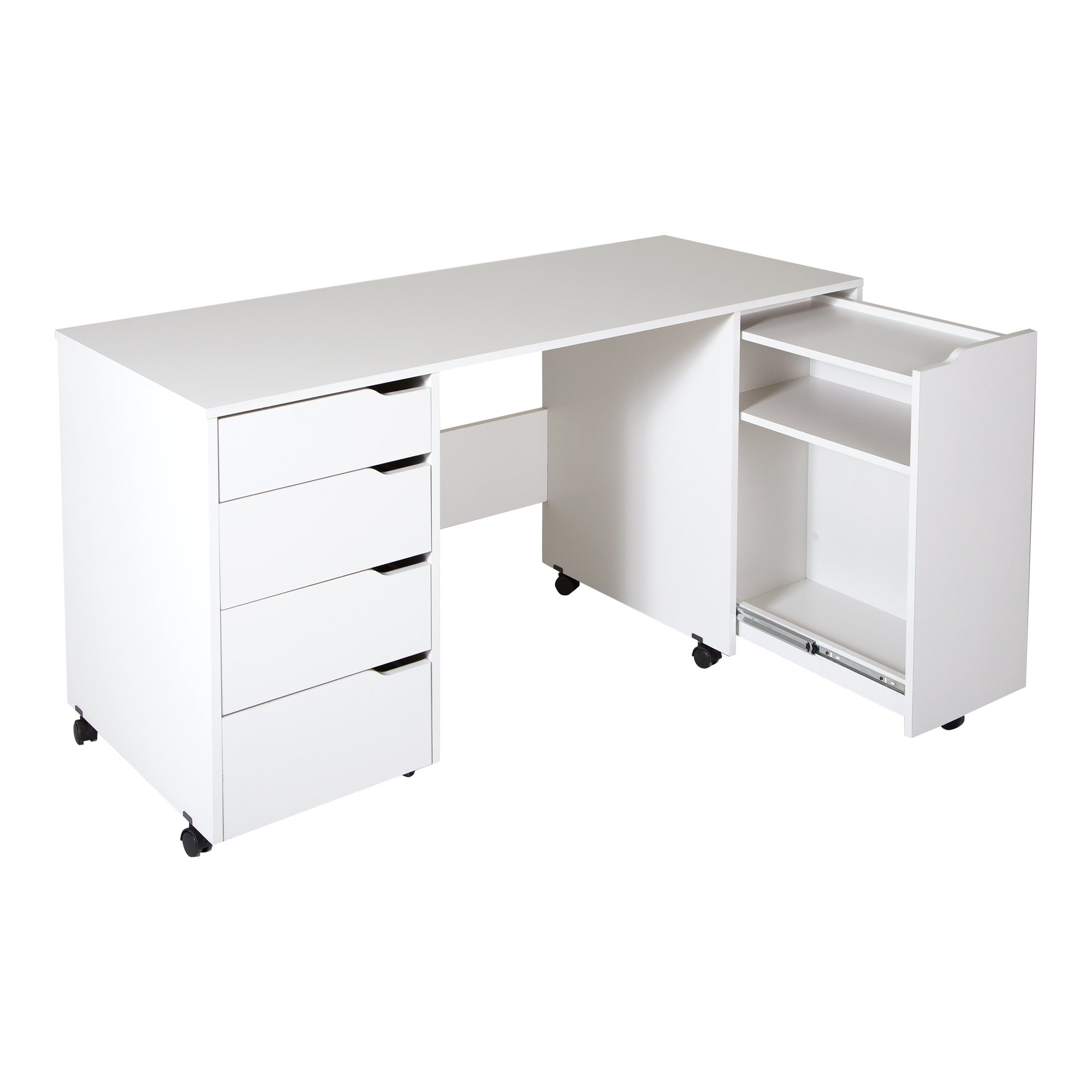 South Shore Crea Craft Table on Wheels with Sliding Shelf, Storage Drawers and Scratchproof Surface, Pure White by South Shore