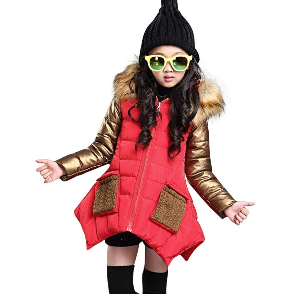 Kids Girl Winter Hooded Fur Collar Thick Jacket Down Coat Outwear Warm Girls Hooded Jackets Snowsuit Long Clothes (Red, 10T)