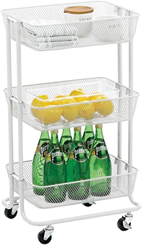 mDesign Metal 3-Tier Rolling Household Storage Cart to use