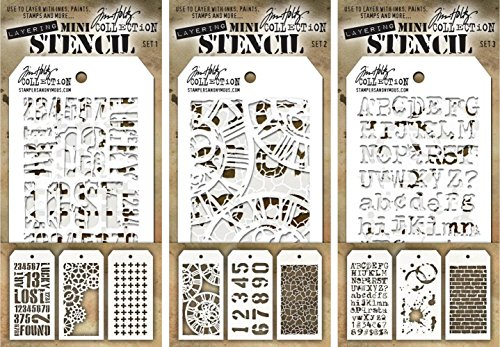 Tim Holtz - Nine Mini Layering Stencils - Industrial, Gears, Plus, Clockwork, Numbered, Crackle, Typo, Splatters and Bricked - aka sets 1, 2 & 3 ()